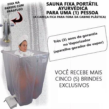 Sauna Vapor Residencial Bivolt Rejuvenator Relax Cabine c/Suporte Inteligente Dobrável p/Box de Banheiros