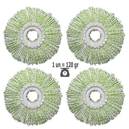 Kit Refil Mop Nano Microfibra 2020 Promoção 4un p/1 Ano Shoppstore, Ø350 mm, Cor Green Marca: FlexMop®