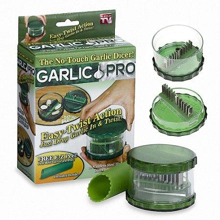 Saldão Kit Descascador Alho + Triturador de Alho c/20 Lâminas 100% Inox - Obs: (copo acrílico c/falhas na injecão) Marca: Original Garlic Pró®