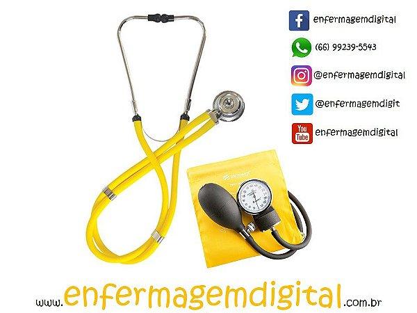 Estetoscópio + Esfigmomanômetro Premium - Amarelo