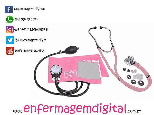 Estetoscópio + Esfigmomanômetro Premium - Rosa