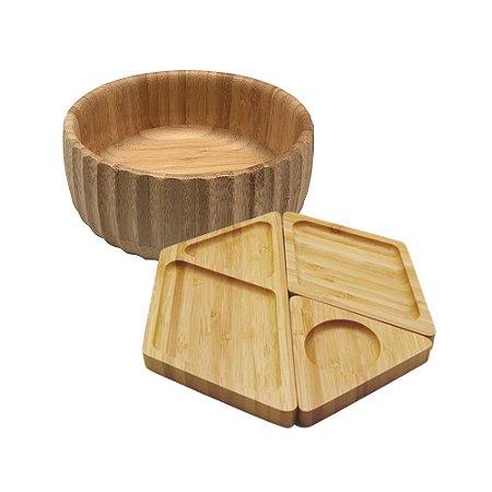 Kit Petisqueira + Bowl Canelado de Bambu