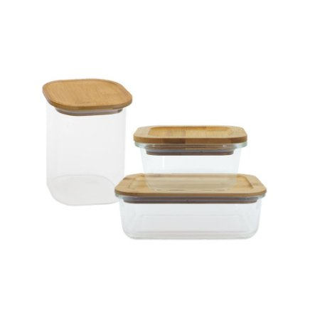 Conjunto de Potes de Vidro com Tampa de Bambu 320 ml + 1040 ml + 1100 ml