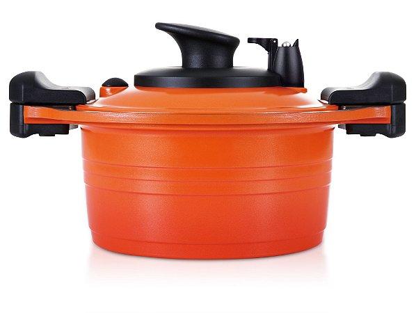 Caçarola Roichen Premium Vacuum com Revestimento Cerâmico Natural - 20 CM - 3L  - Função Vácuo - Laranja