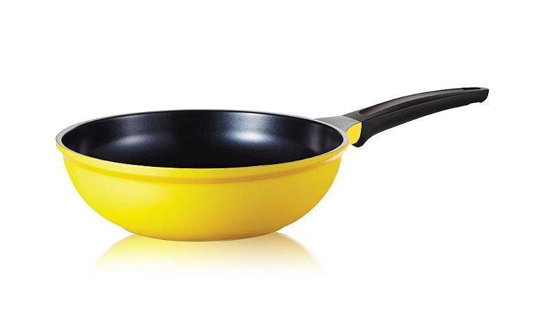 Wok Roichen Natural com Revestimento Cerâmico - 26 CM - 3,0L - Amarelo - Sem tampa