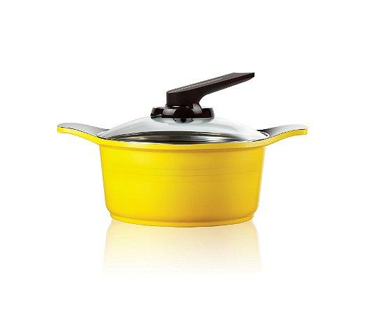 Caçarola Natural Roichen com Revestimento Cerâmico e Tampa Standing de vidro - 20 CM - 2,5L - Amarela