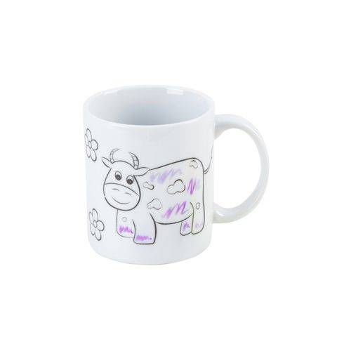 Caneca Lovely Kids -Vaquinha - c/ canetinha colorida - 250 ml