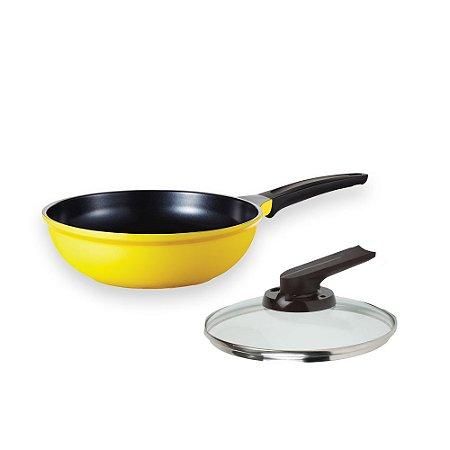 Wok Roichen Natural com Revestimento Cerâmico - 26CM - 3L - Amarelo - com Tampa de Vidro - 26 cm