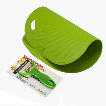 Kit Get Essential - Tábua de Corte Antibacteriana e Descascador Cerâmico - Verde