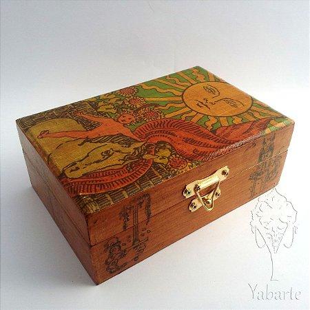 Porta Baralho - Caixa para Tarot O Sol (Envelhecido)
