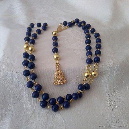 Terço Nossa Senhora Aparecida |Pedra Natural Azul
