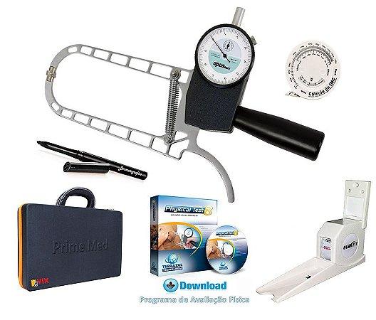 Adipômetro Cientifico Com Estadiômetro E Software De Avaliação Física Physical Test 8 Vitalício
