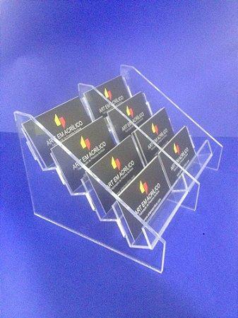 Porta Cartões em Acrílico de mesa com 8 repartições