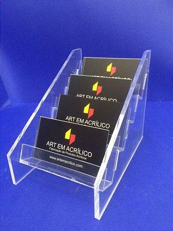 Porta Cartões em Acrílico de mesa com 4 repartições