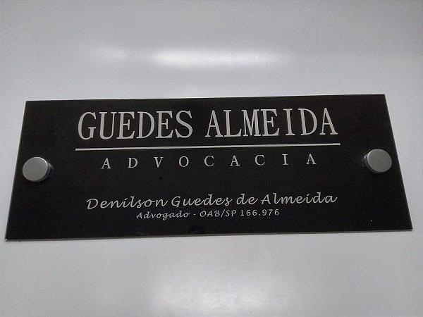 Placa de identificação em Acrílico para portas e paredes de escritórios 40 x 15 cm
