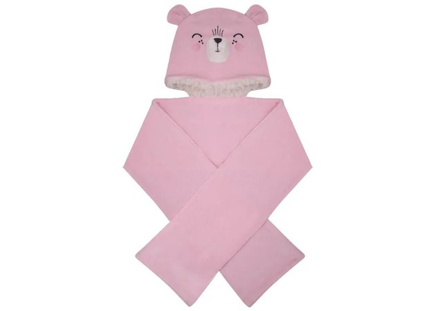 Kit Touca e Cachecol Ursinha Rosa Hug Baby