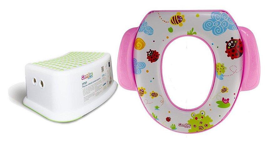 Kit Higiene Redutor Sanitário Degrau Rosa Comtac