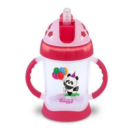 Copo de Treinamento com Canudo Panda 250ml Rosa Comtac Kids (9m+)