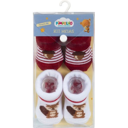 Kit 2 Meias Bebê Castor Vermelho e Branco Pimpolho (0m)