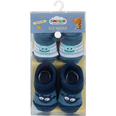 Kit 2 Meias Bebê Monstrinho Azul Pimpolho (0m)