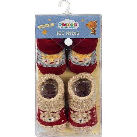 Kit 2 Meias Bebê Raposa e Urso Vermelho Pimpolho (0m)