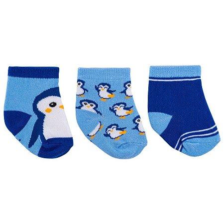 Kit 3 Meias Bebê Pinguins e Listrado Azul Pimpolho (0-7m)