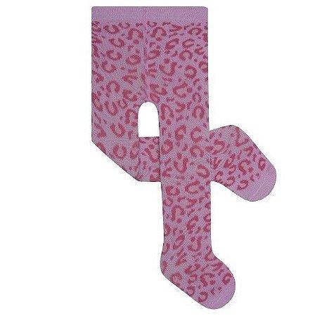 Meia Calça de Algodão Bebê Rosa Oncinha Pimpolho (0-7m)