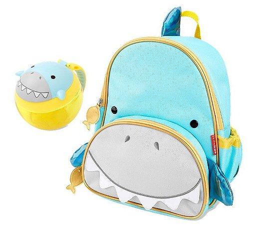 Kit Escolar Mochila Costas e Pote Snack Skip Hop Tubarão