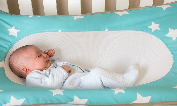 Cama Segura Primeiro Sono Redinha para Berço Verde Água Baby Pil (0m+)