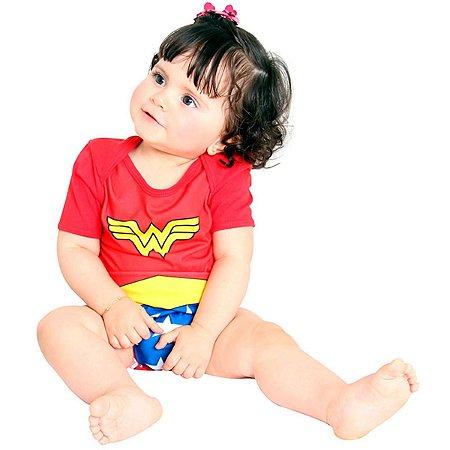 Fantasia Mulher Maravilha Body Verão Bebê Sulamericana