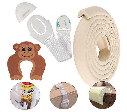 Kit Segurança Bebê 15 Peças Protetor Quina L Creme + Trava Gaveta + Salva Dedo Macaco