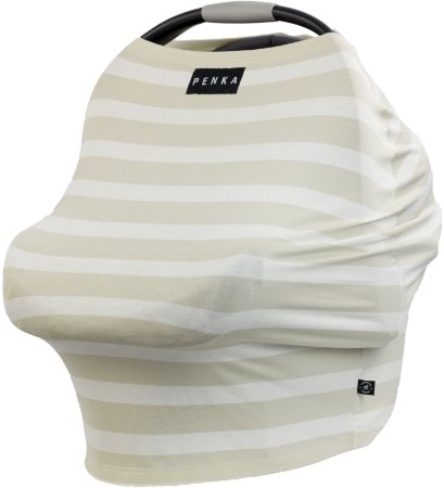 Capa Multifuncional Stripes para Bebê Conforto e Carrinho Penka Mulan Bege Listrado