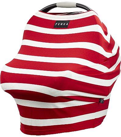 Capa Multifuncional Stripes para Bebê Conforto e Carrinho Penka Lulu Vermelho Listrado