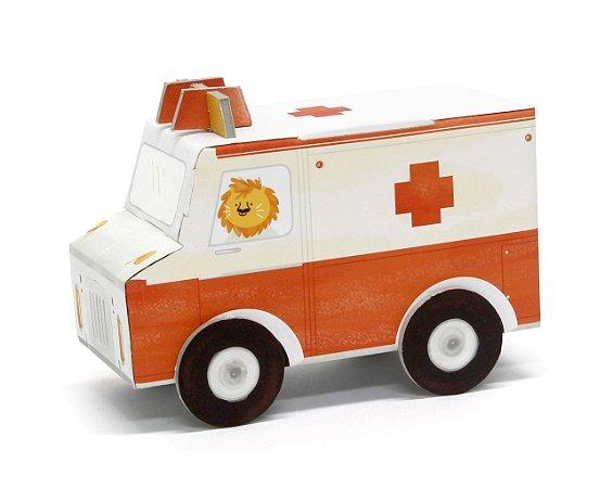Carrinho de Papelão de Montar 3D Ambulância Krooom
