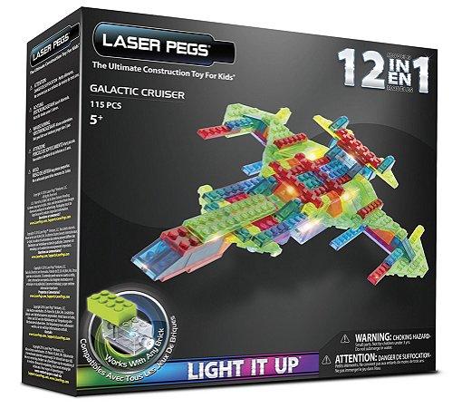 Blocos de Montar 12 em 1 com Luzes Cruzador Intergalático Laser Pegs