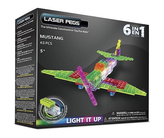Blocos de Montar 6 em 1 com Luzes Avião Mustang ZippyDo Laser Pegs