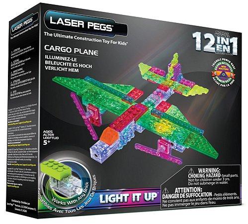 Blocos de Montar 12 em 1 com Luzes Avião de Carga Laser Pegs