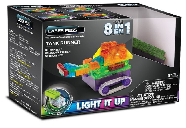 Blocos de Montar 8 em 1 com Luzes Tanque Runners Laser Pegs