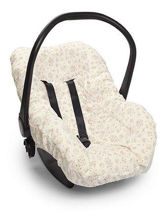 Capa Forro para Bebê Conforto Branca e Rosa Mundo de Fantasia Hug Baby