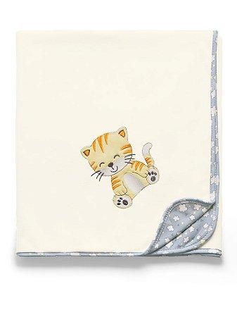 Manta Soft Tigre Cinza Nuvens de Algodão Hug Baby
