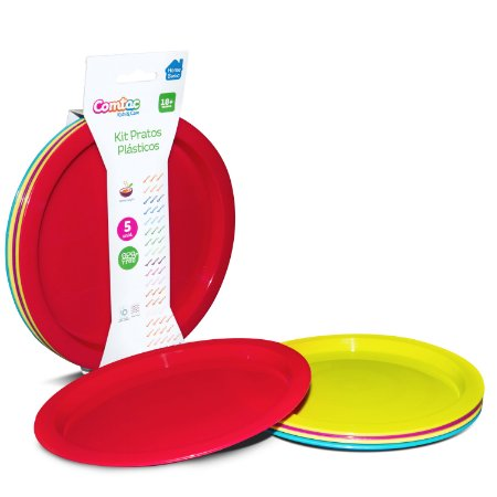 Kit Pratos Plásticos Coloridos 5 Unidades Comtac Kids (18m+)
