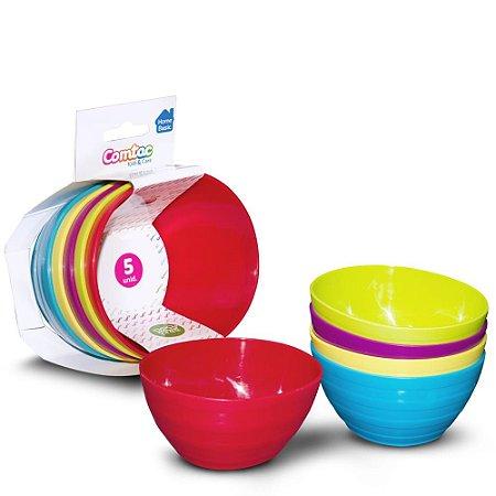 Kit Tigelas Plásticas Coloridas 5 Unidades Comtac Kids