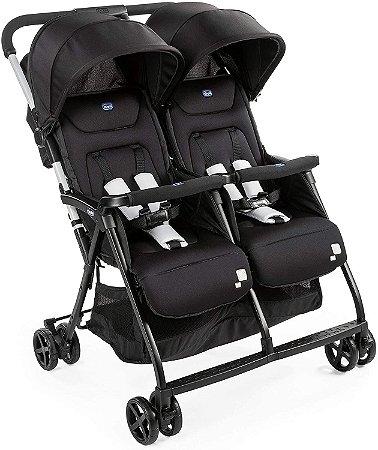 Carrinho de Bebê Gêmeos Ohlalà Twin Black Night Chicco - Até 15kg