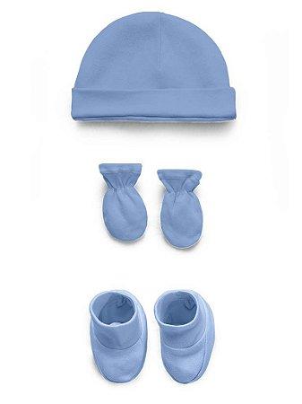 Kit Touca Luva e Sapatinho Liso Azul Hug