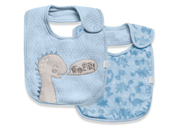 Babador Impermeável Meus Dinos Azul Hug Baby - 2 Unidades