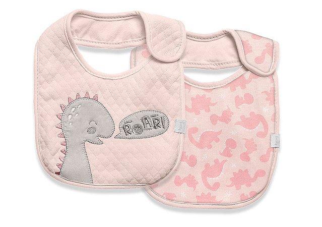 Babador Impermeável Meus Dinos Rosa Hug Baby - 2 Unidades