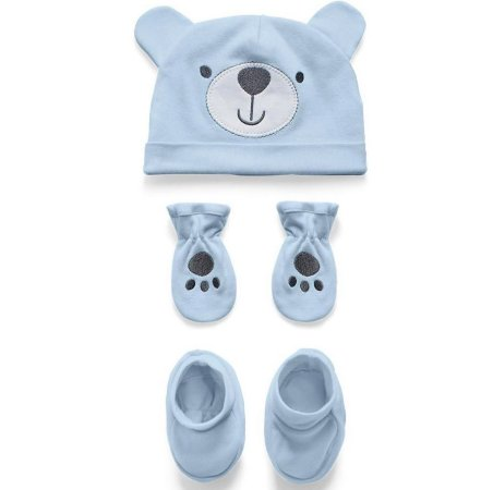 Kit Touca Luva e Sapatinho Ursinho Azul Hug Baby