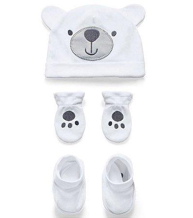 Kit Touca Luva e Sapatinho Ursinho Branco Hug Baby