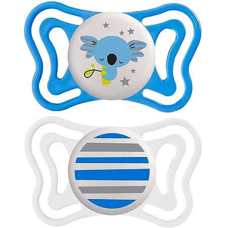 Chupeta PhysioForma Light Lumi Dupla Azul Tamanho 1 (6-16m) Chicco