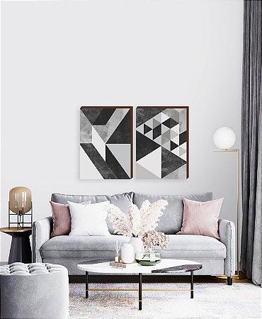 Dupla de quadros Geométricos cinza e preto [boxdemadeira]